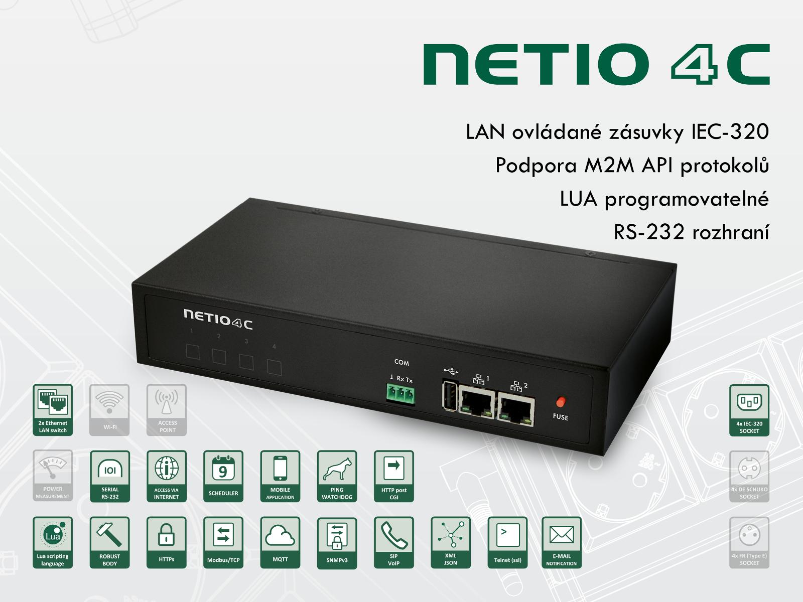 Chytré PDU NETIO 4C s podporou modbus, tcp a telnet