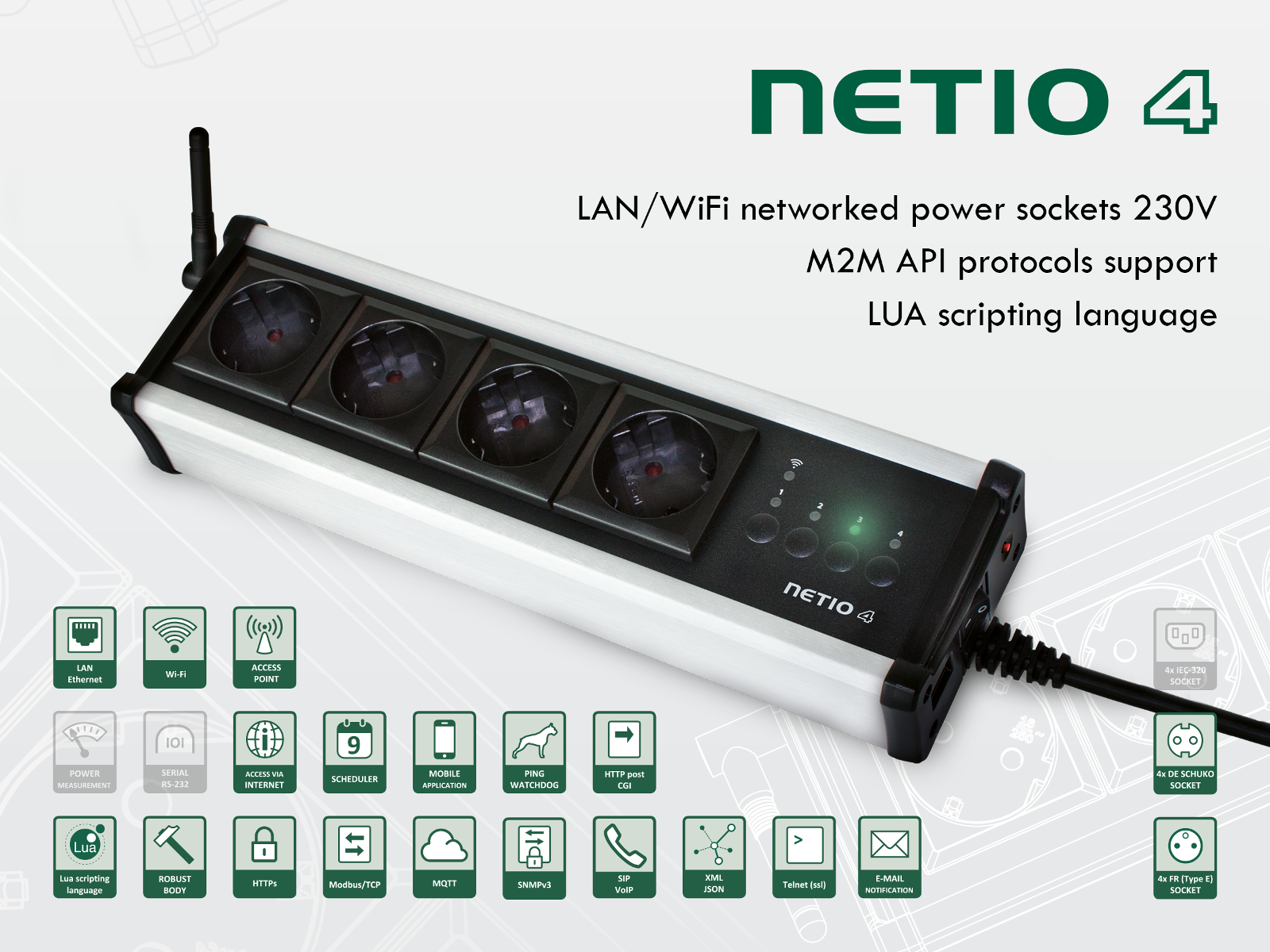 NETIO All: Smart sockets with power consumtion metering