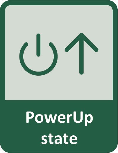 Użytkownik może zdefiniować stan wyjścia po przywróceniu zasilania - stan PowerUp
