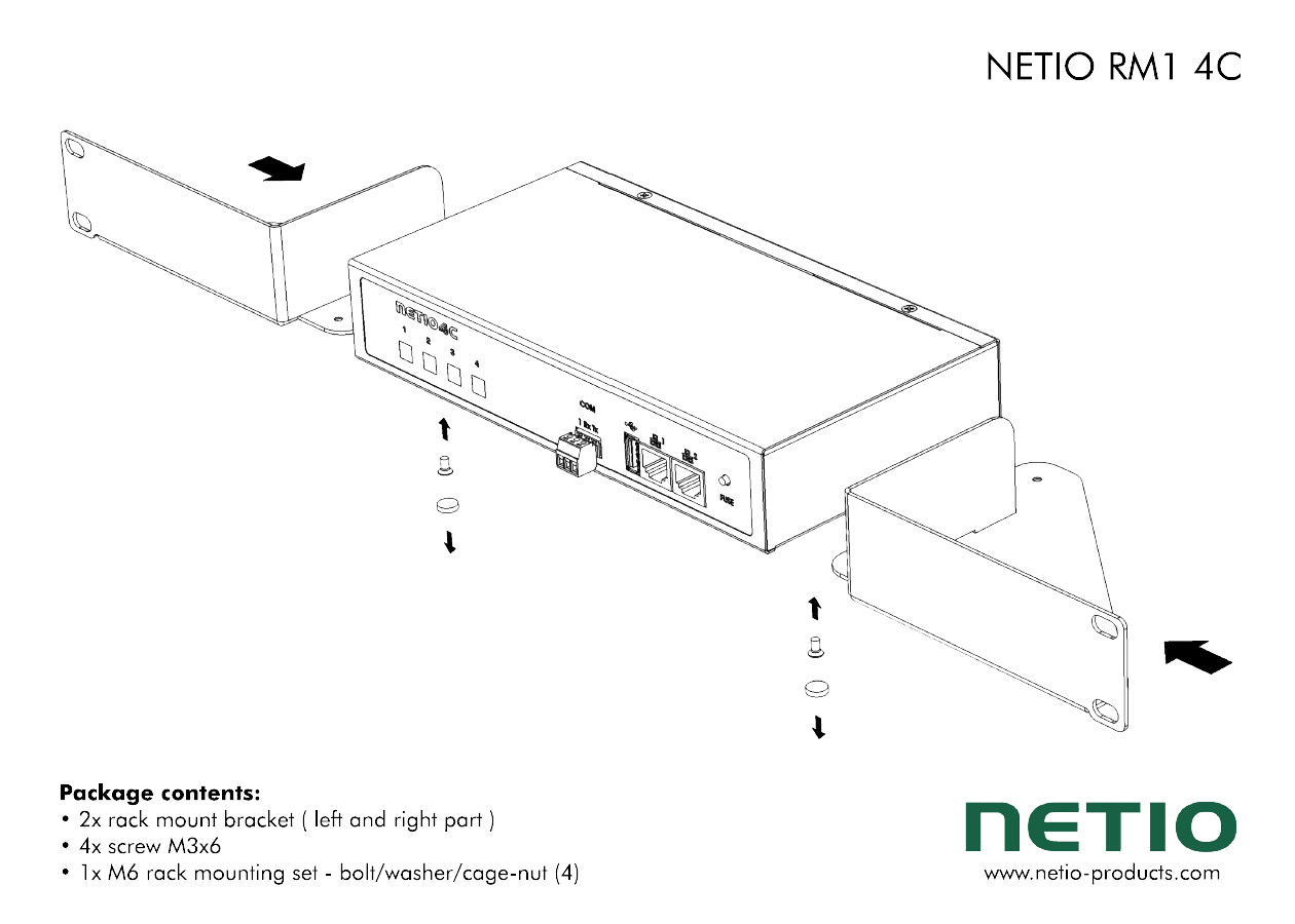 """Metal brackets to install one NETIO 4C device into a 1U space in a 19"""" rack frame"""
