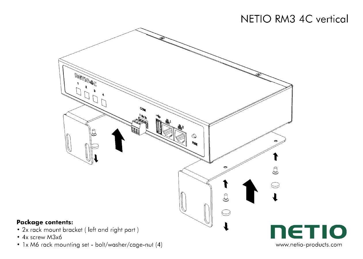 Metal brackets to fasten one NETIO 4C device to a vertical bar in a rack frame
