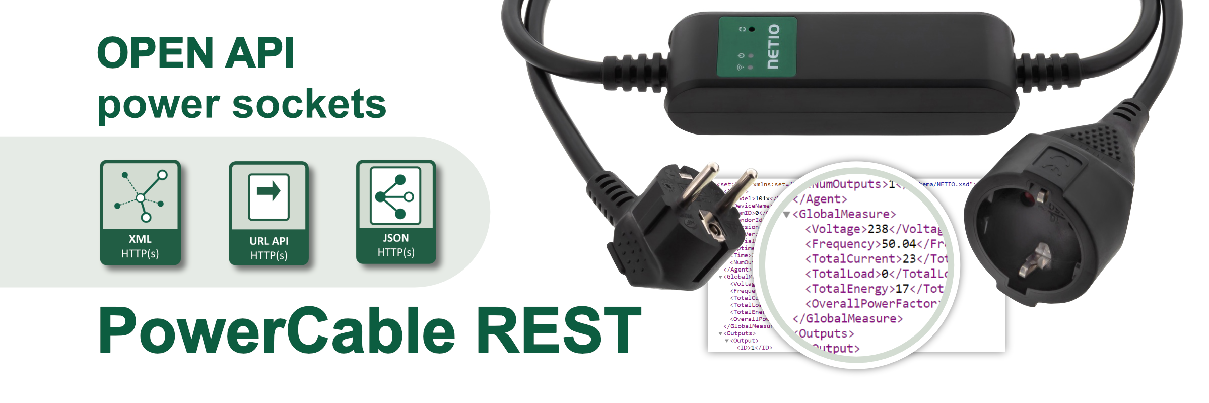 NETIO PowerCable REST 101x is a smart WiFi power socket by NETIO products. On/off over a web interface, electrical values (V, A, kWh, W, Hz, TruePF).