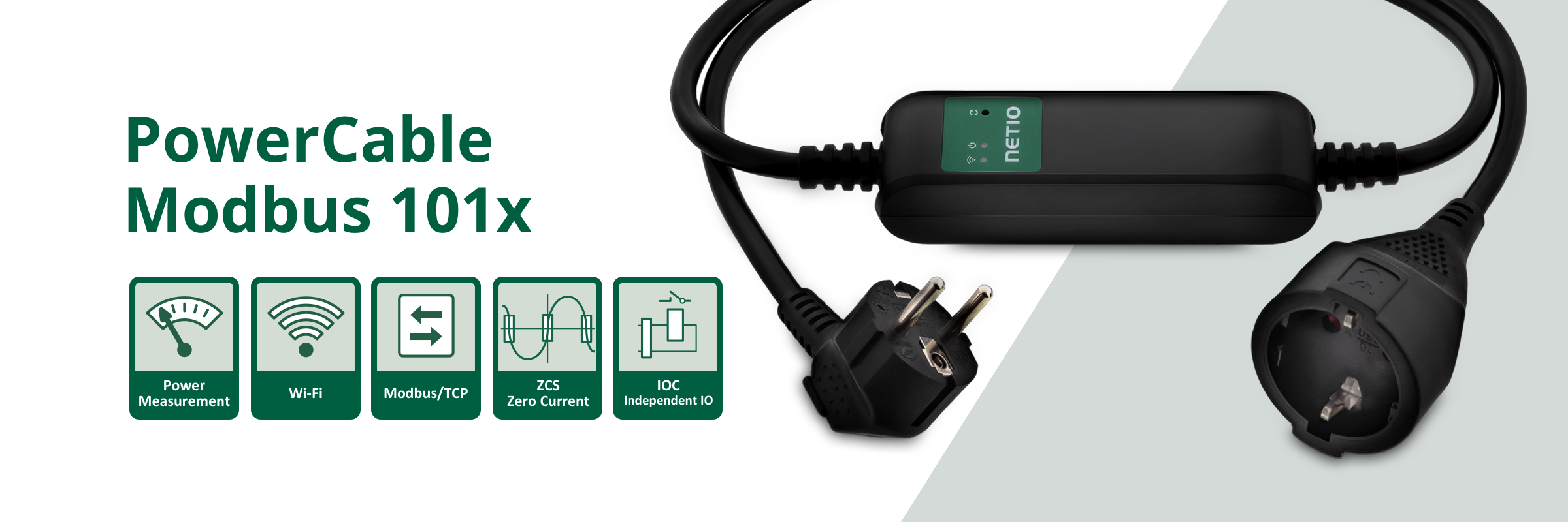 NETIO PowerCable Modbus 101x is a smart WiFi power socket by NETIO products. On/off over a web interface, electrical values (V, A, kWh, W, Hz, TruePF).