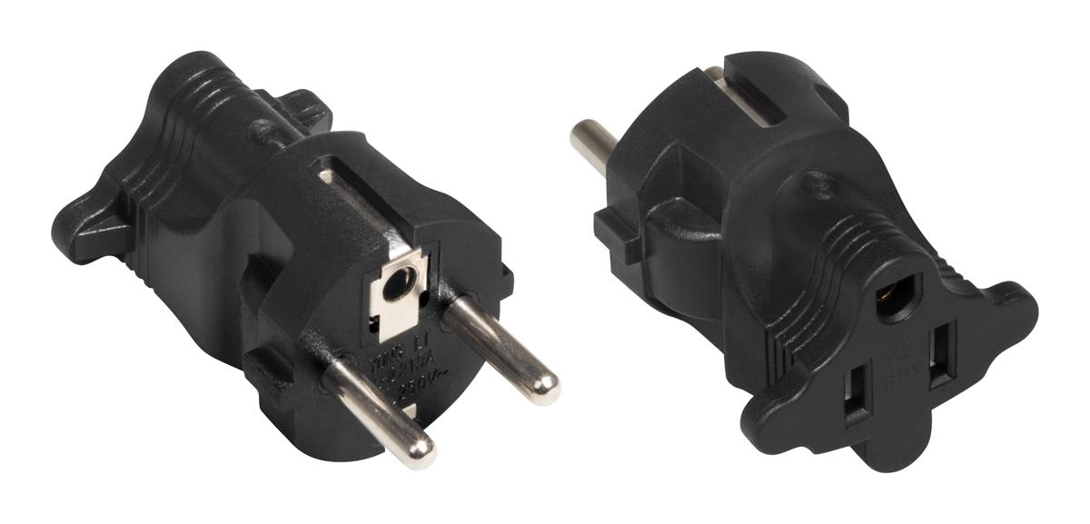 A plug adapter for a 110/230V power cable with a US (NEMA) plug.