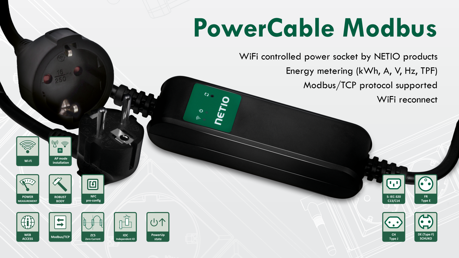NETIO PowerCable Modbus smart WiFi power socket controlled over M2M API Modbus