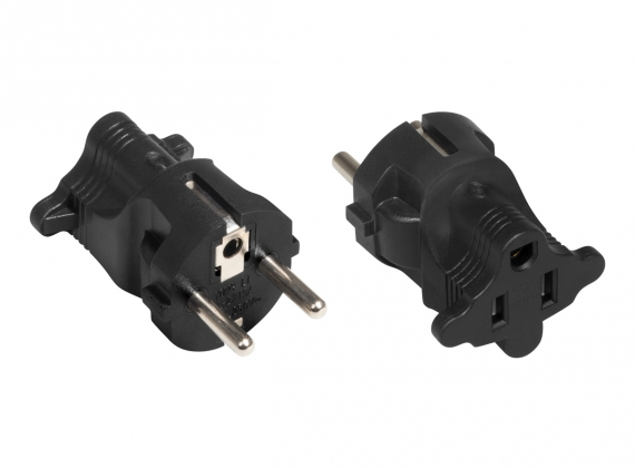 A plug adapter for a 110/230V power cable with a US (NEMA) plug. The adapter fits into European FR (Type E) or DE (Type F – Schuko) sockets as a Europlug (CEE 7/7).