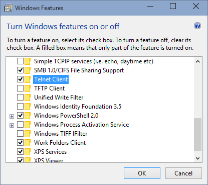 In Windows Vista, Windows 7 and higher versions, Telnet needs to be enabled first.