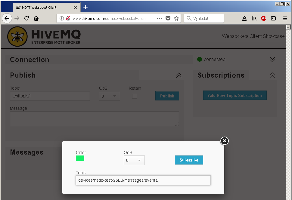 Topic and Qos configuration in Hive MQTT broker