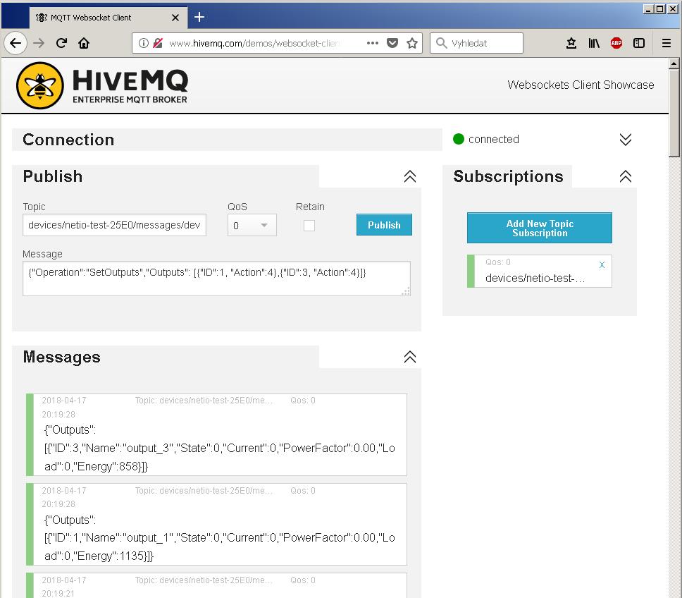 Sending messages to NETIO power socket via HiveMQ MQTT broker