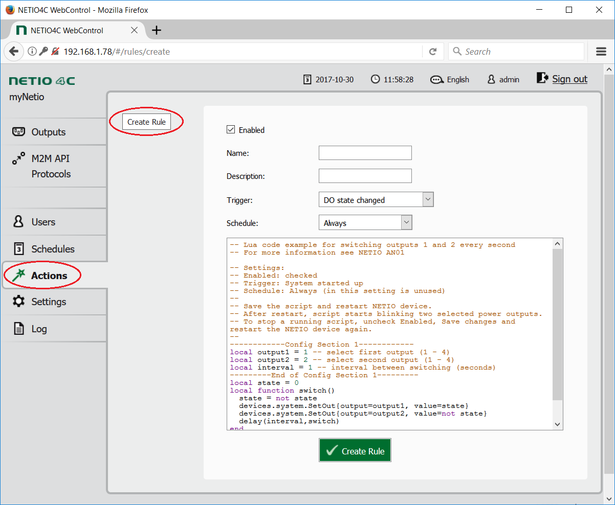 Through web interface create rule using Lua scripting language in section Actions