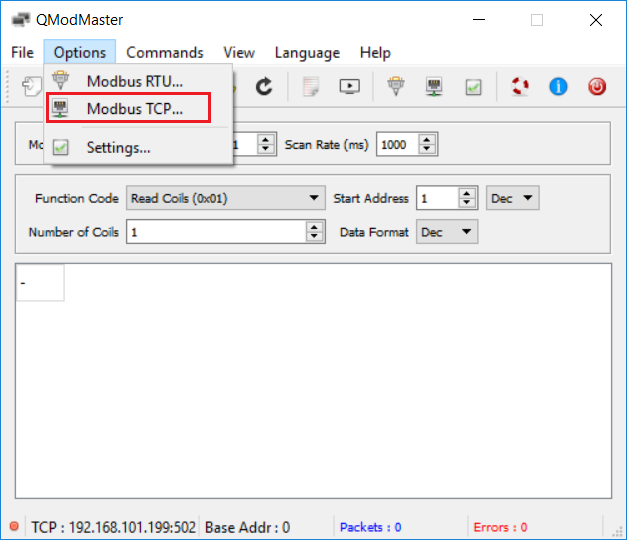 In QModMaster through Options select Modbus TCP