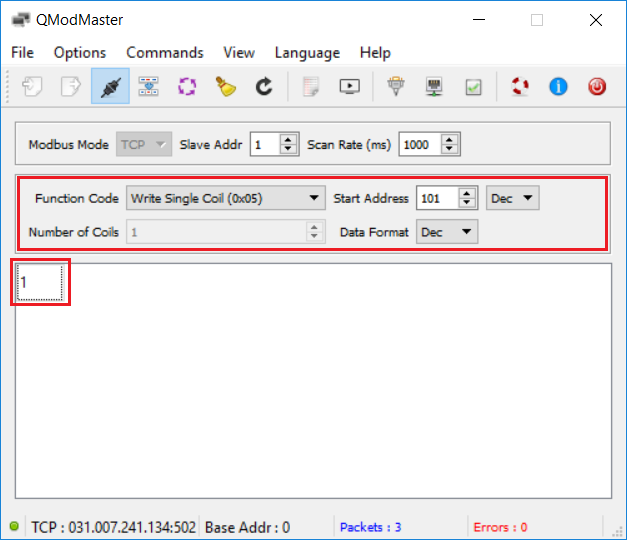 Write Modbus command and send to networked power outles NETIO