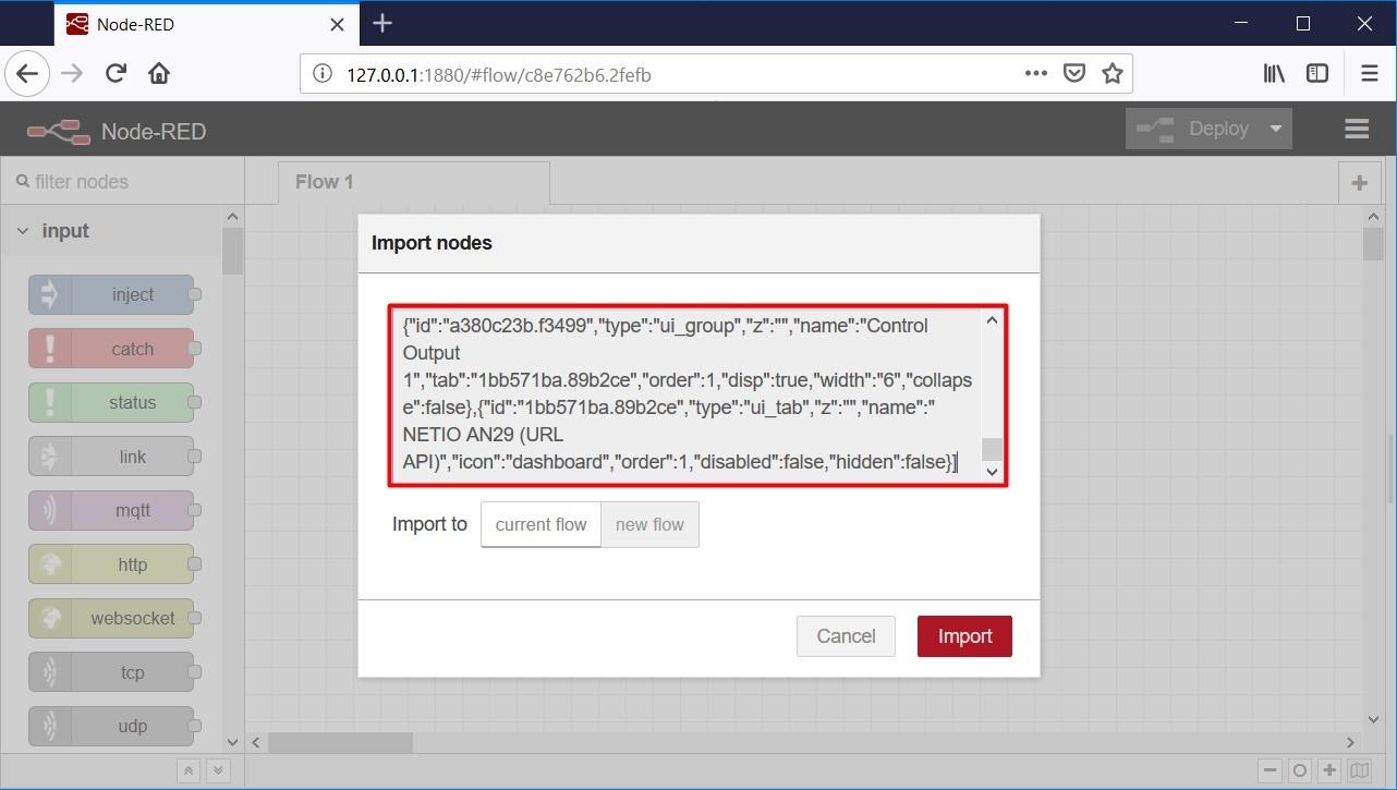 Node-RED import of flow script