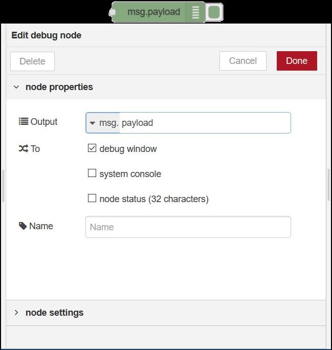 Debug node in Node-RED