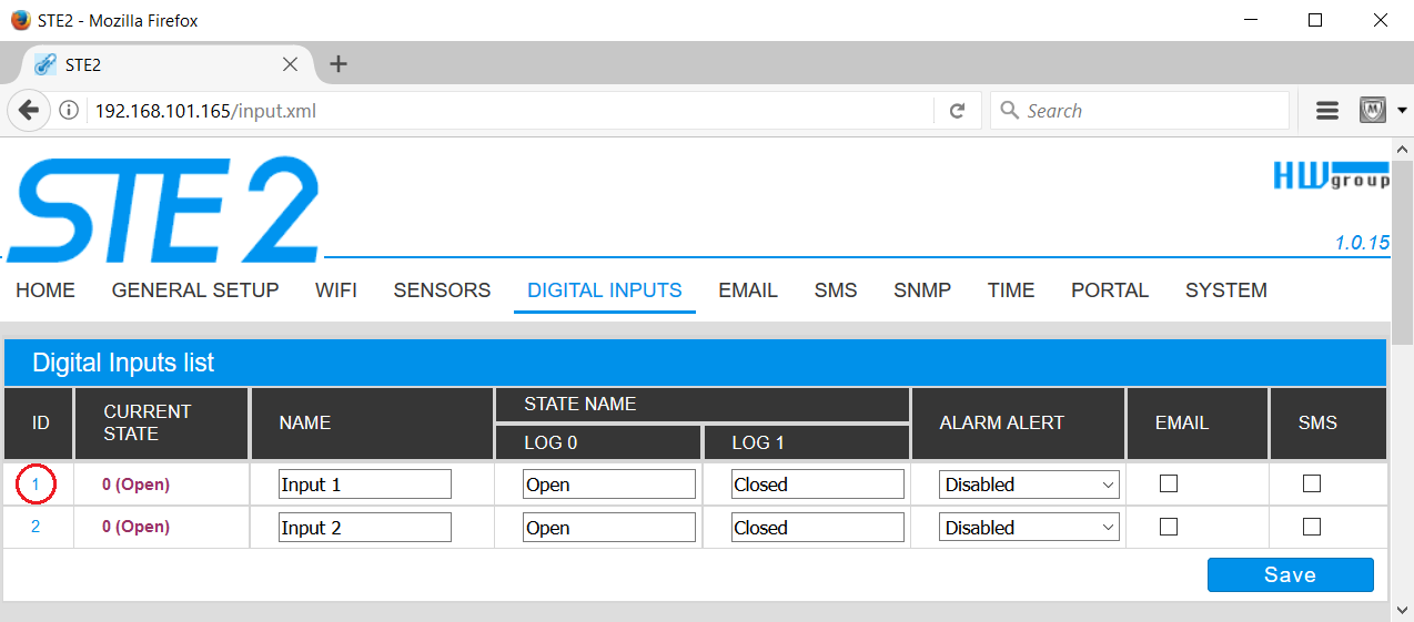 Sensor ID can be find in Digital Inputs section on the STE2 website