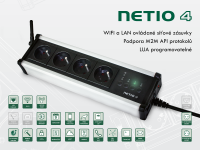 NETIO 4 – 4x230V, ovládání pomocí protokolů SNMP, Modbus/TCP, mqtt, https, http, xml, json, telnet a dalších