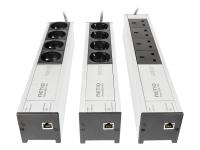 Various plug variants of NETIO PowerBOX 4Kx remote IP controlled power strip