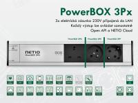 NETIO PowerBOX 3Px je profesionální elektrická zásuvka se 3 výstupy připojená do LAN sítě