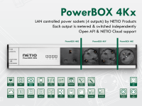 NETIO PowerBOX 4Kx is a LAN IP power strip with electrical metering