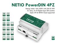 NETIO PowerDIN 4Pz dual electricity meter for DIN rail mounting