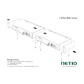 "Metal brackets to install two NETIO 4C devices into a 1U space in a 19"" rack frame."