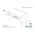 Universal metal brackets to fasten one NETIO 4C device e.g. to horizontal bars in a rack frame.