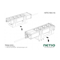 A metal bracket to fasten one NETIO 4 or NETIO 4All device to a vertical bar in a rack frame