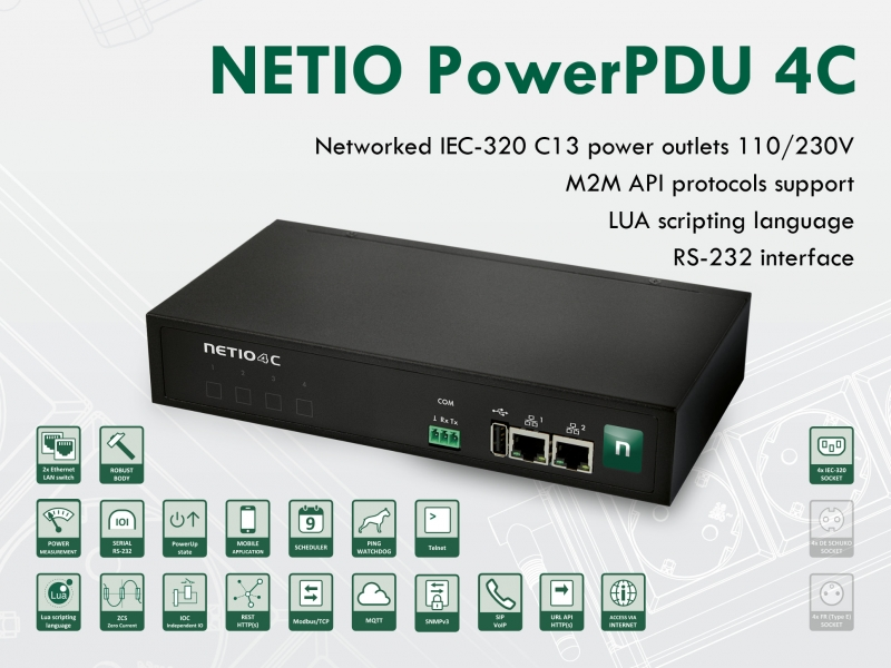 NETIO PowerPDU 4C is small PDU with power measurement and IEC-320 outputs