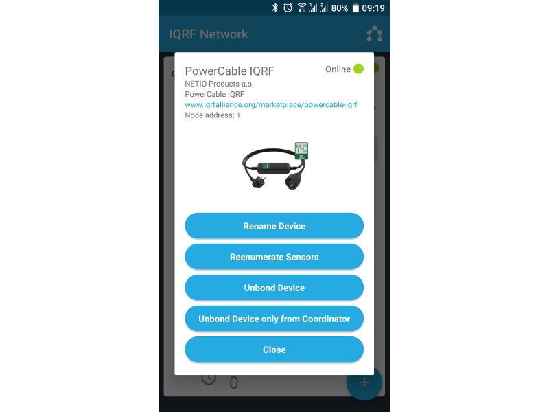 Mobile App - Device settings of PowerCable IQRF