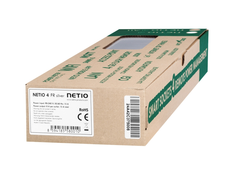 NETIO 4 – smart sockets for remote power management, label with MAC serial number and EAN code.