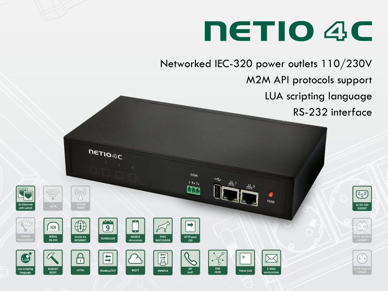 Time scheduled network controlled power outlet NETIO 4C, modbus, tcp and telnet contol