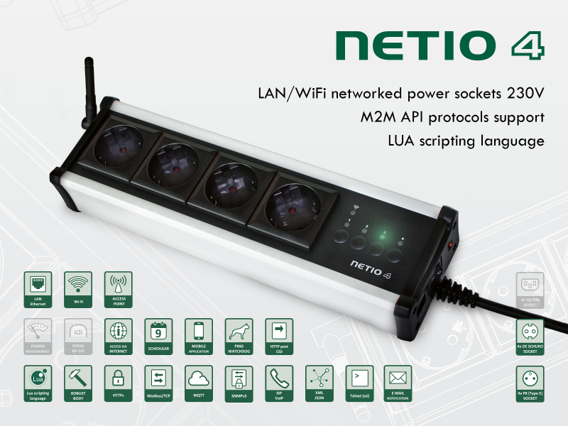 NETIO 4: Progammable smart 230V power strip with LAN and WiFi