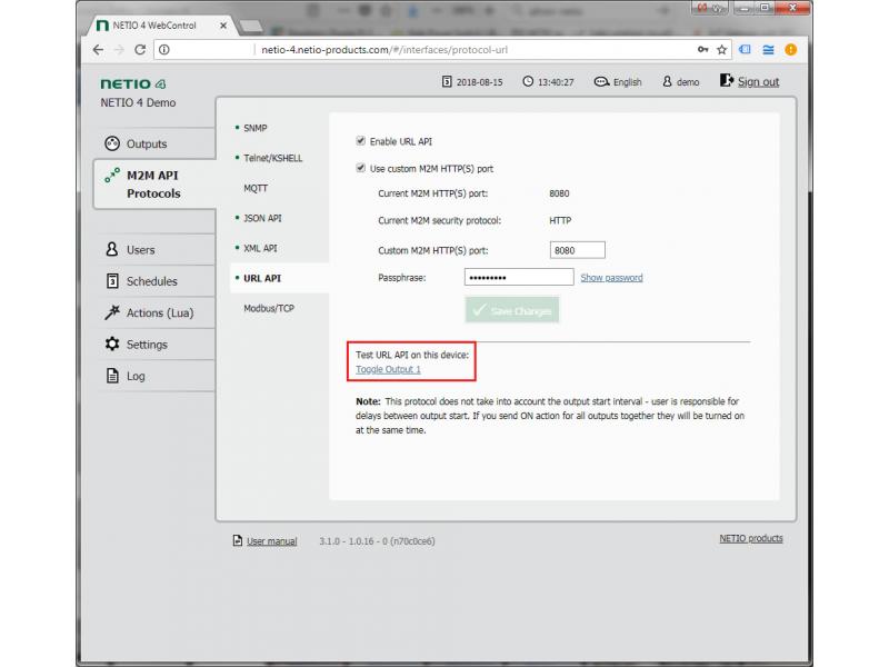 Adresa URL API je jeden z protokolů M2M založených na protokolech HTTP podporovaných zařízeními NETIO 4. Zavolejte na adresu URL pro ovládání každého výstupu síťového zásuvky na zařízení NETIO 4.