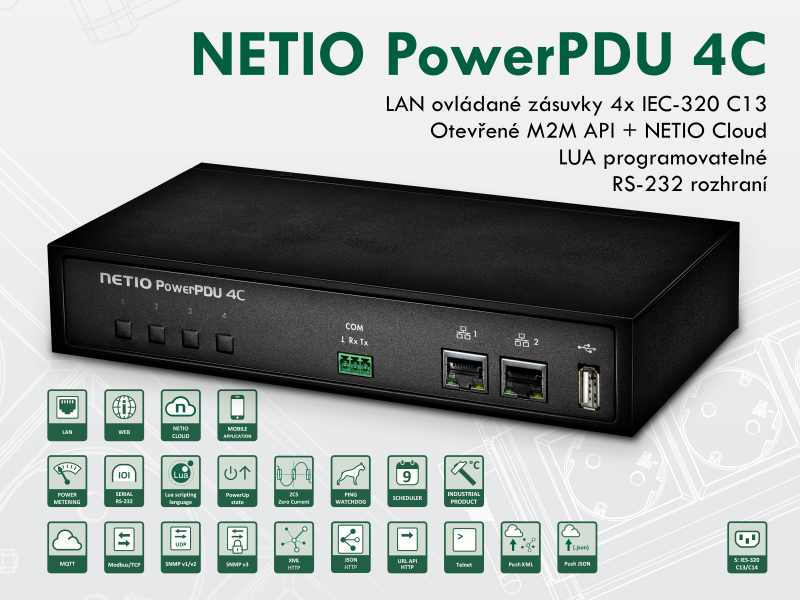 NETIO PowerPDU 4C je chytré PDU se čtyřmi IEC-320 C13 elektrickými zásuvkami