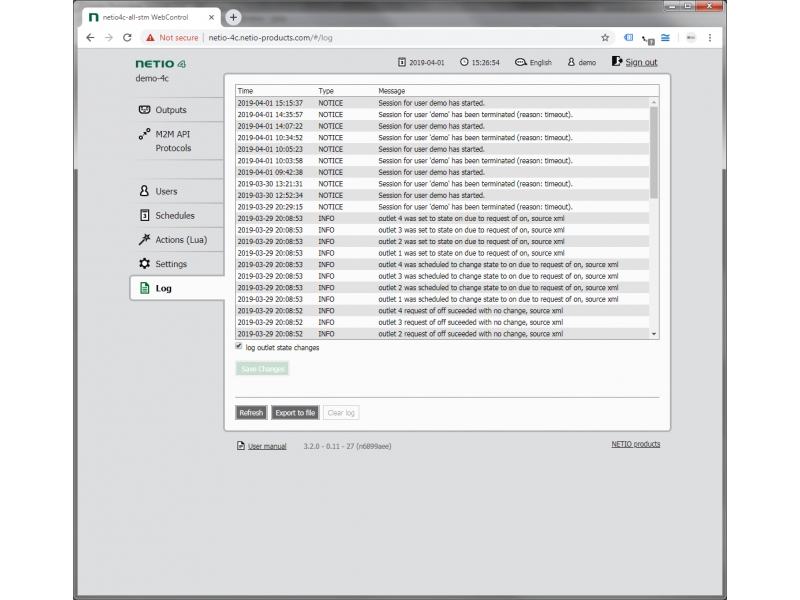 All device activities overwiew in log reports in web interface, also exportable into file.