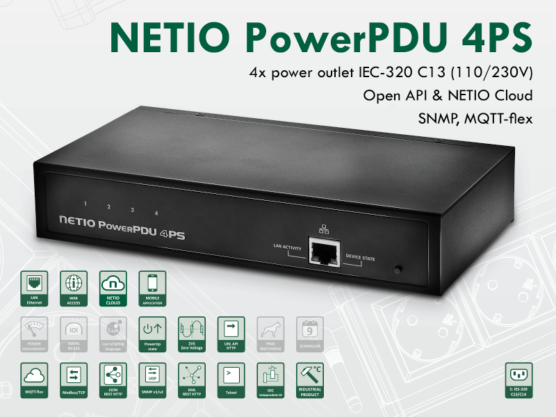 Switched power distribution unit PDU NETIO PowerPDU 4PS for 230V