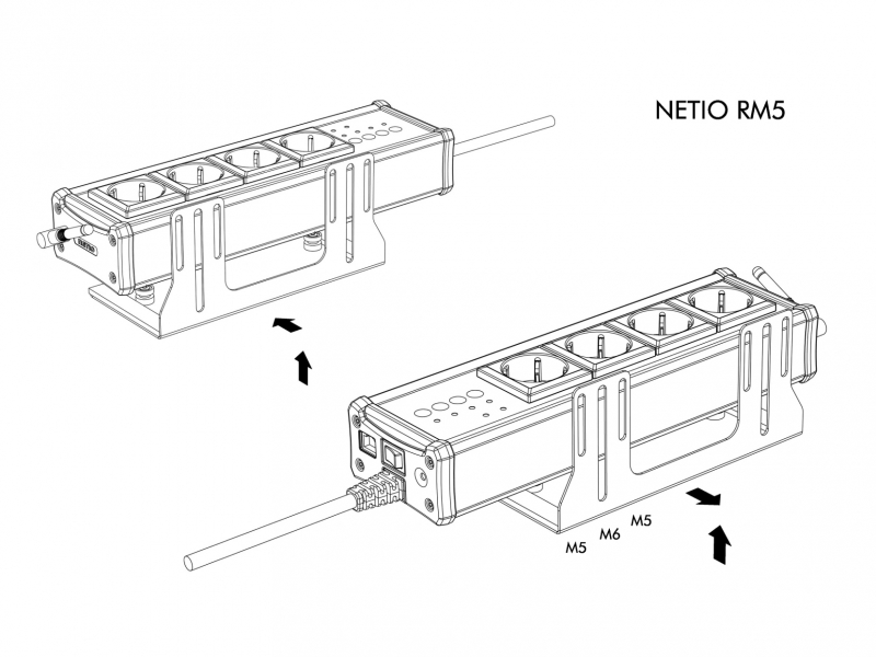 Rack Mount Kits allow you to install NETIO 4/4All power socket to Rack frame