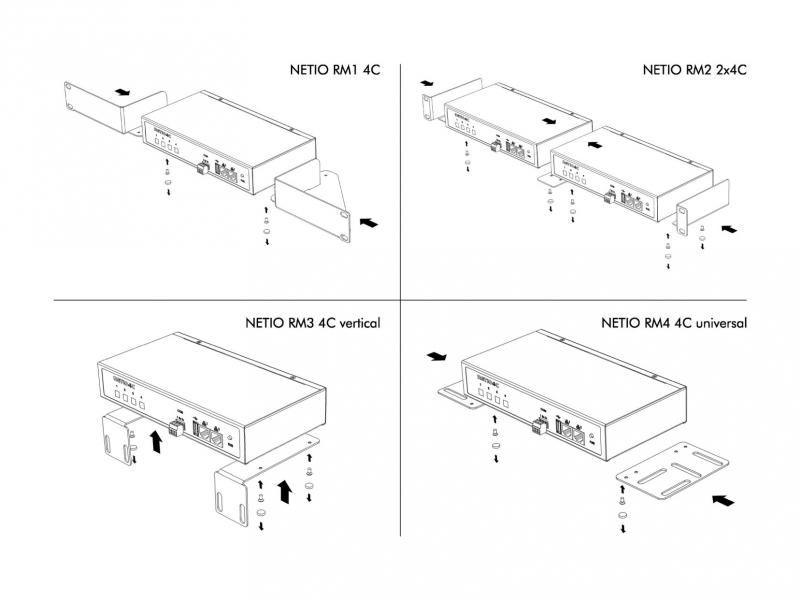Rack Mount Kits allow you to install NETIO PowerPDU 4C power outlet to Rack frame