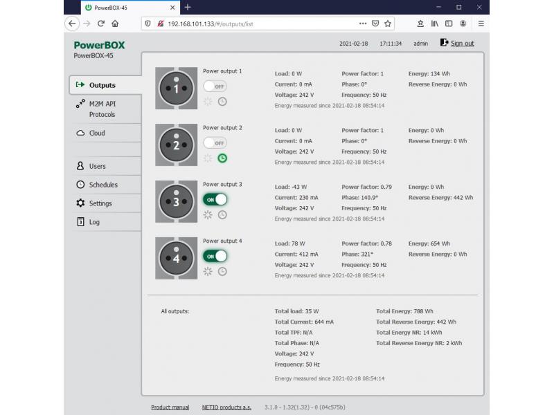 NETIO PowerBOX 4Kx - one output settings