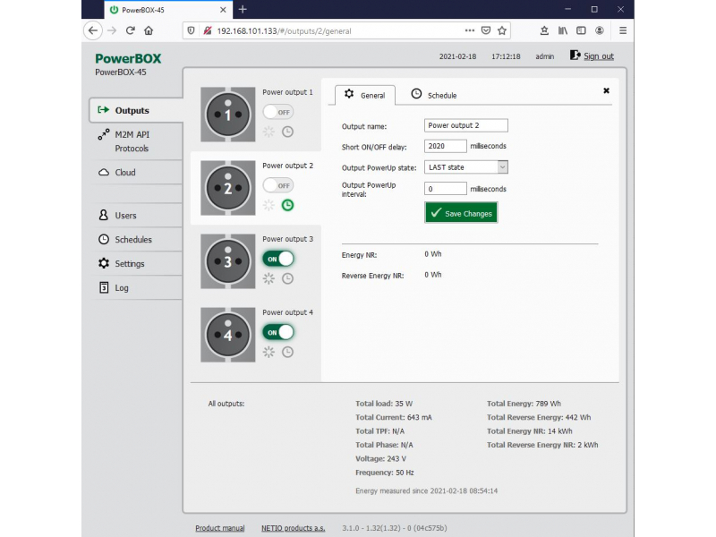 PowerBOX 4Kx web interface - all outputs viewed