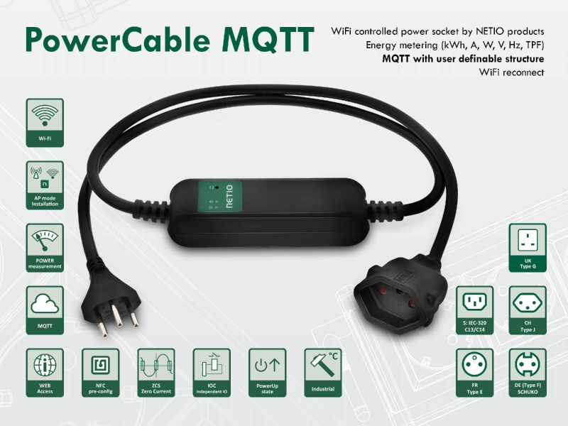 WiFi controlled power socket NETIO PowerCable MQTT 101x with energy metering