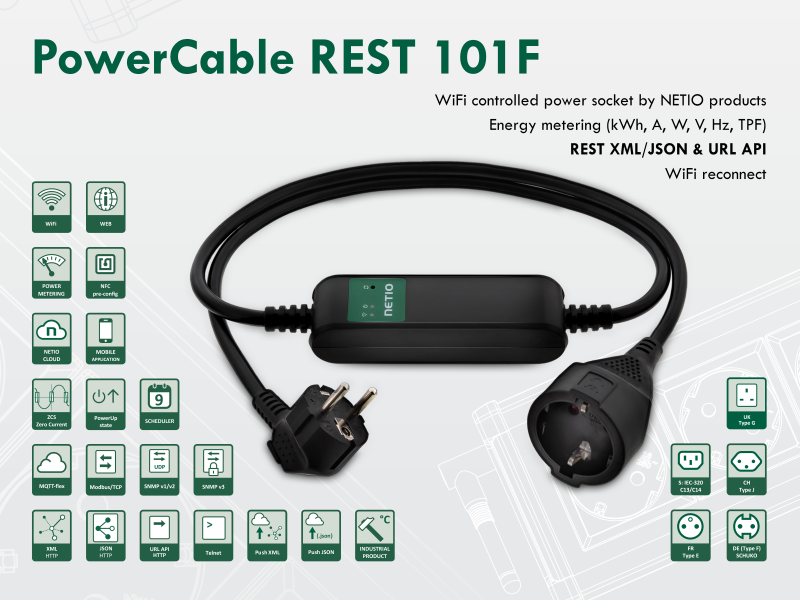 Smart electrical cable NETIO PowerCable REST 101F