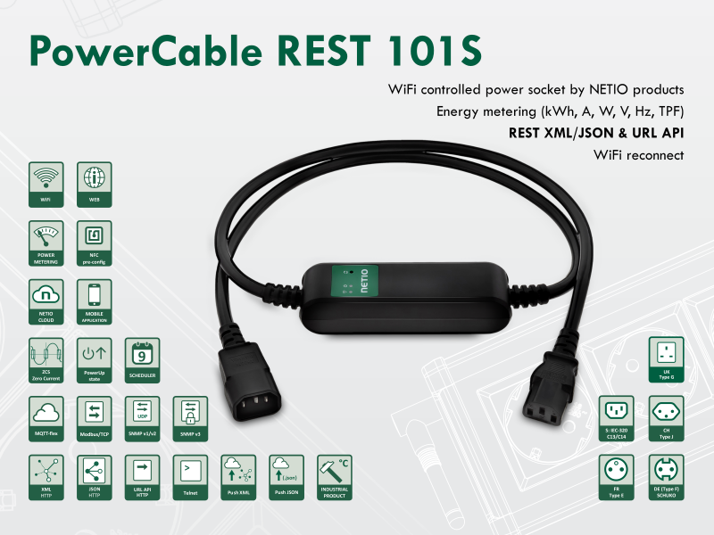 Smart electrical cable NETIO PowerCable REST 101S