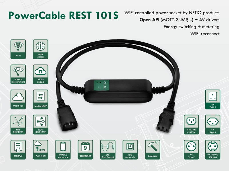 NETIO PowerCable REST metered and switched smart power socket 230V