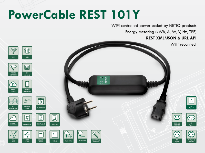 Smart electrical cable NETIO PowerCable REST 101Y