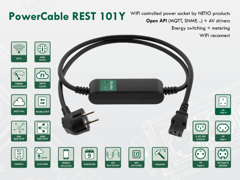 Smart extension power cord CEE 7/7 and IEC-320 C13 power plugs