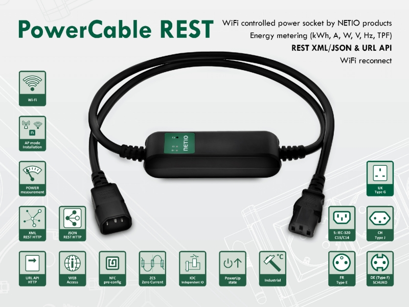 Remote controlled WiFi power socket PowerCable REST with power measurement