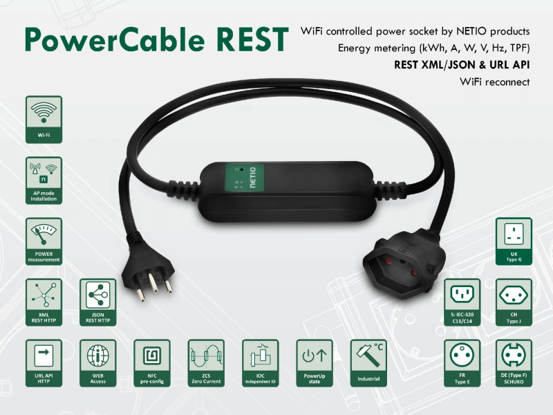 M2M controlled power socket PowerCable REST with power measurement