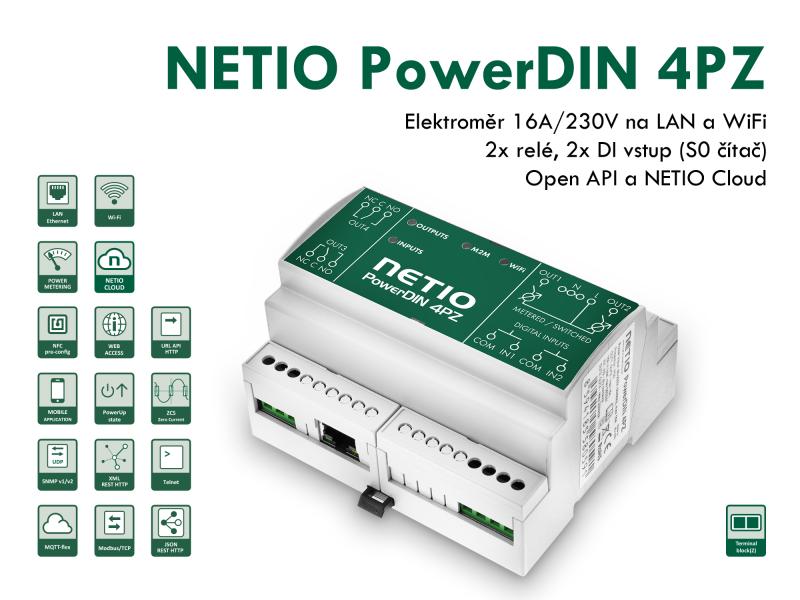 PowerDIN 4PZ NETIO chytry elektromer 230V 16A