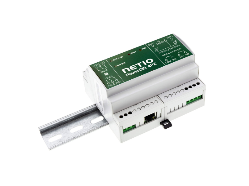 NETIO PowerDIN 4Pz 2-channel electrometer switched and controlled via Open API (MQTT, Modbus, JSON, SNMP and more)
